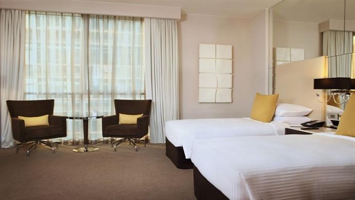 View of Hyatt Capital Gate Abu Dhabi Hotel - Muslim Friendly Travel in Abu Dhabi